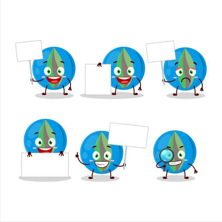 Blue marbles cartoon character bring information board