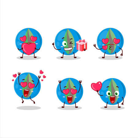 Blue marbles cartoon character with love cute emoticon