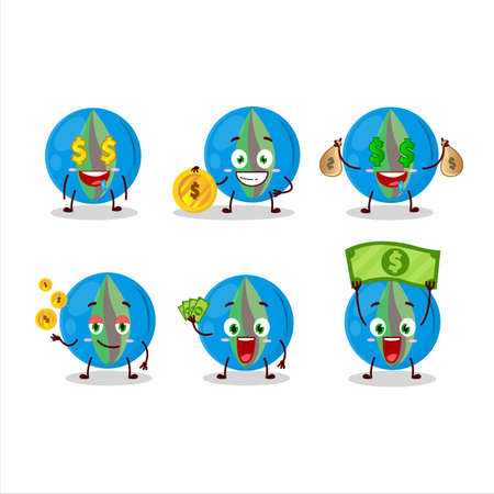 Blue marbles cartoon character with cute emoticon bring money