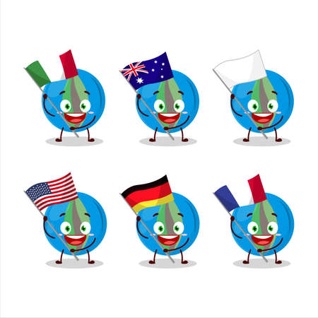 Blue marbles cartoon character bring the flags of various countries
