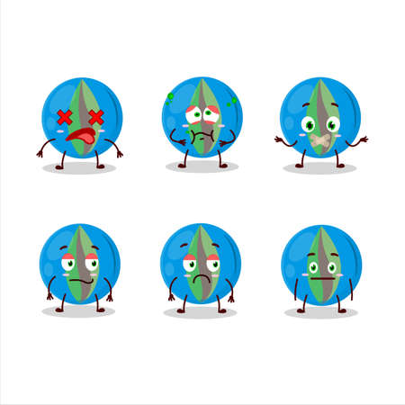 Blue marbles cartoon character with nope expression