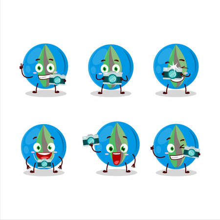Photographer profession emoticon with blue marbles cartoon character