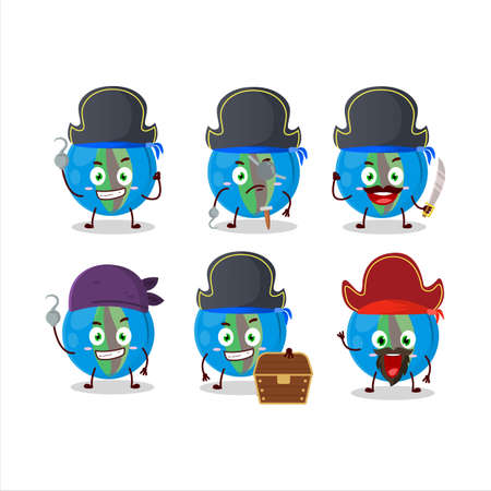 Cartoon character of blue marbles with various pirates emoticons