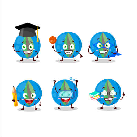 School student of blue marbles cartoon character with various expressions Ilustrace