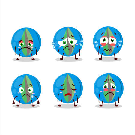 Blue marbles cartoon character with sad expression