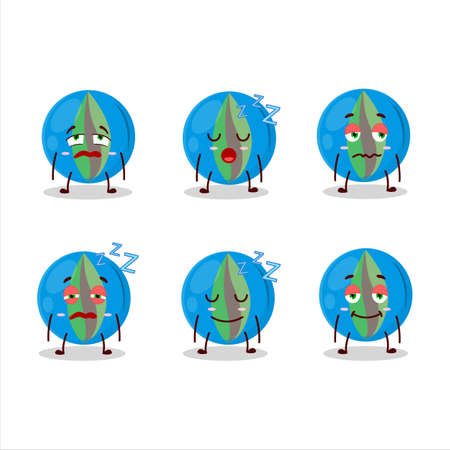 Cartoon character of blue marbles with sleepy expression