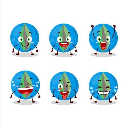 Cartoon character of blue marbles with smile expression