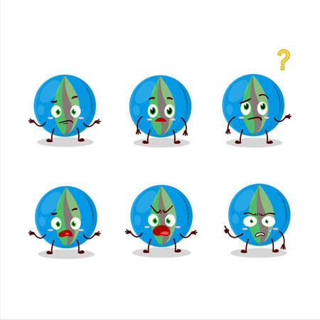 Cartoon character of blue marbles with what expression
