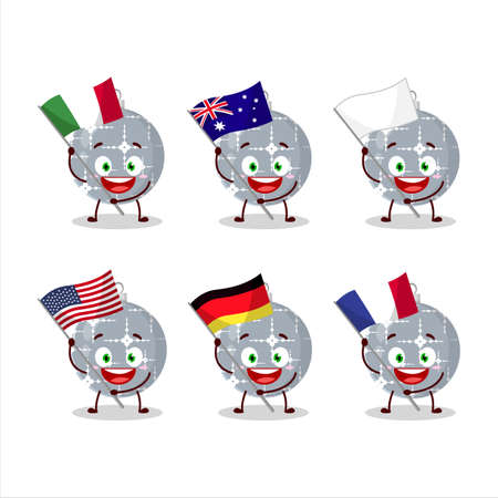 Christmas ball grey cartoon character bring the flags of various countries Vettoriali