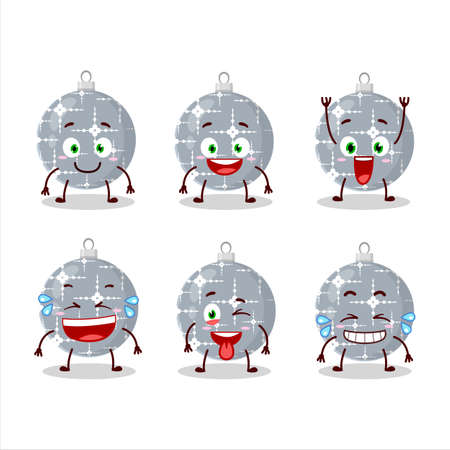 Cartoon character of christmas ball grey with smile expression
