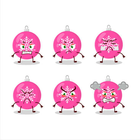 Christmas ball pink cartoon character with various angry expressions