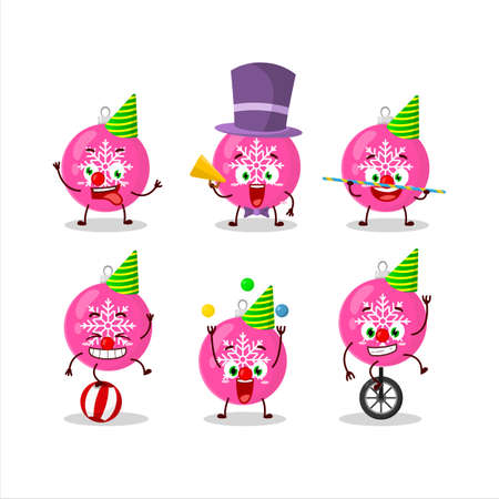 Cartoon character of christmas ball pink with various circus shows Stock Illustratie