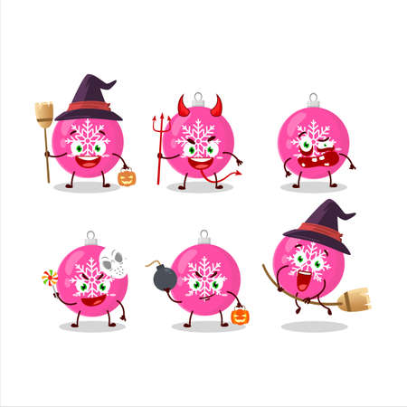 Halloween expression emoticons with cartoon character of christmas ball pink