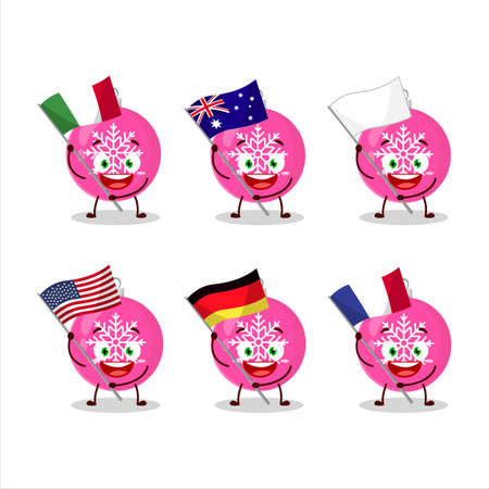 Christmas ball pink cartoon character bring the flags of various countries