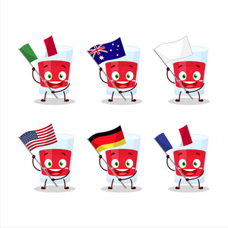 Cranberry juice cartoon character bring the flags of various countries