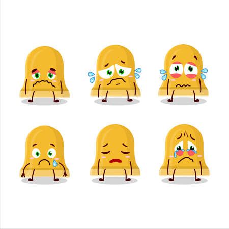 Gold bell cartoon character with sad expression