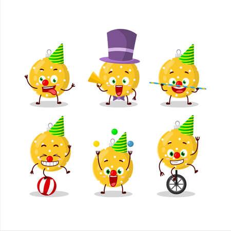 Cartoon character of christmas ball yellow with various circus shows