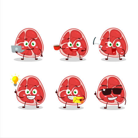 Ham cartoon character with various types of business emoticons
