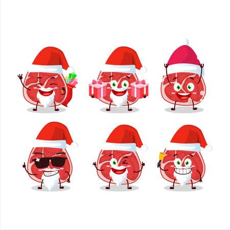 Santa Claus emoticons with ham cartoon character