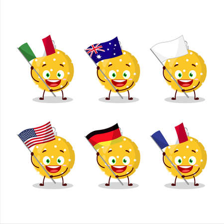Christmas ball yellow cartoon character bring the flags of various countries