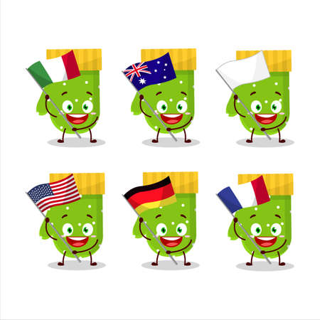 Green gloves cartoon character bring the flags of various countries