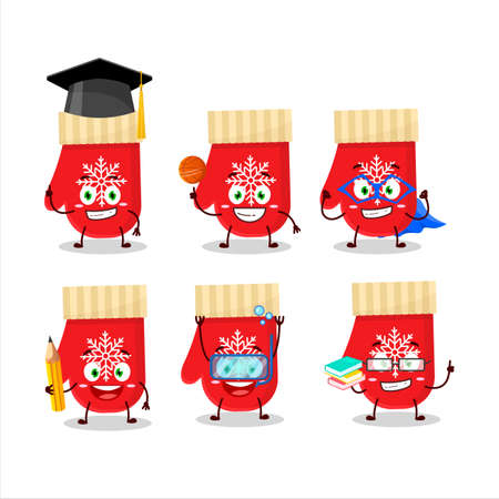 School student of red gloves cartoon character with various expressions