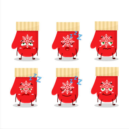 Cartoon character of red gloves with sleepy expression