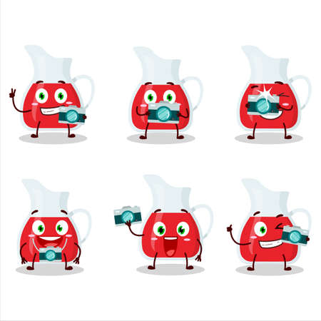 Photographer profession emoticon with jug of cranberry juice cartoon character