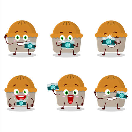 Photographer profession emoticon with meat pie cartoon character