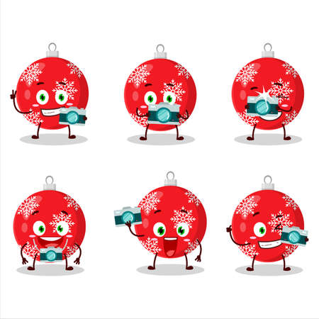 Photographer profession emoticon with christmas ball red cartoon character.Vector illustration