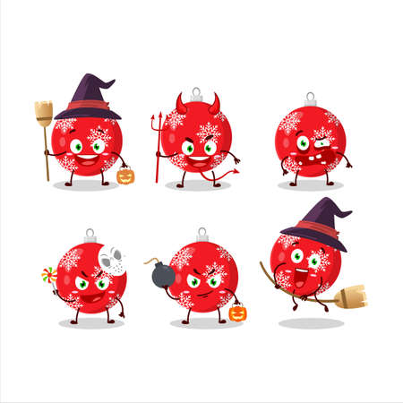 Halloween expression emoticons with cartoon character of christmas ball red.Vector illustration