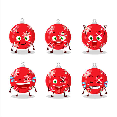 Cartoon character of christmas ball red with smile expression.Vector illustration