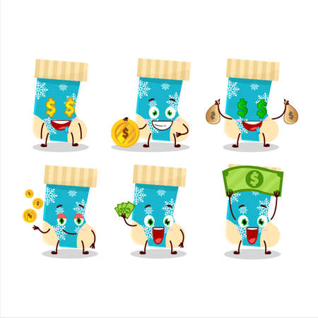 Blue christmas socks cartoon character with cute emoticon bring money