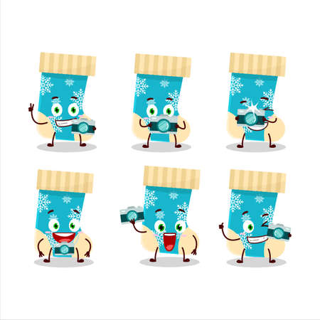 Photographer profession emoticon with blue christmas socks cartoon character