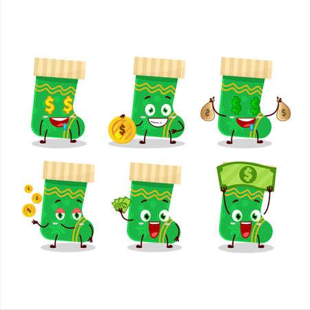 Green christmas socks cartoon character with cute emoticon bring money Illusztráció