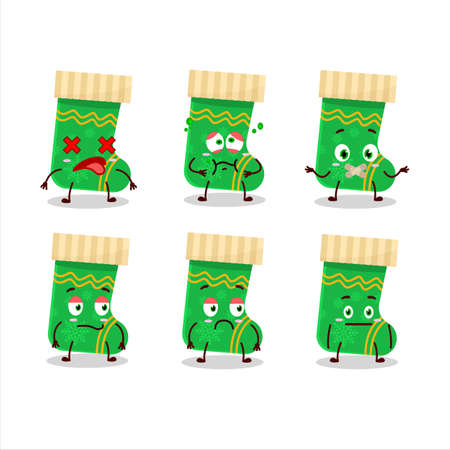 Green christmas socks cartoon character with nope expression