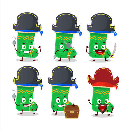 Cartoon character of green christmas socks with various pirates emoticons