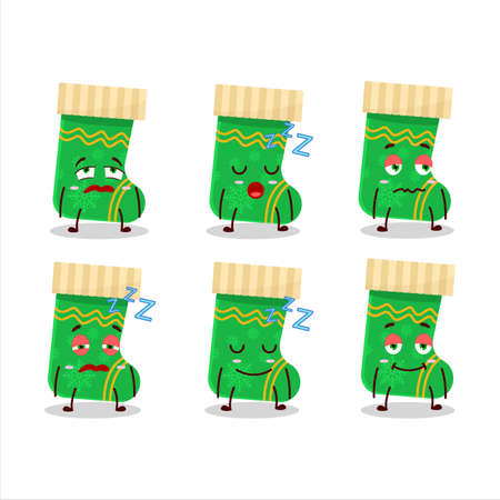 Cartoon character of green christmas socks with sleepy expression 向量圖像