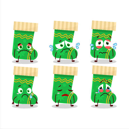 Green christmas socks cartoon character with sad expression