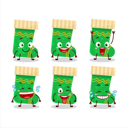 Cartoon character of green christmas socks with smile expression