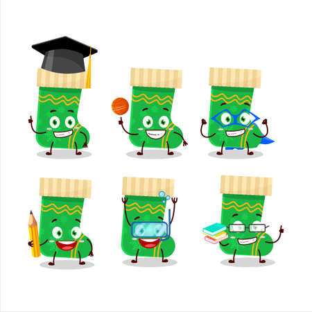 School student of green christmas socks cartoon character with various expressions