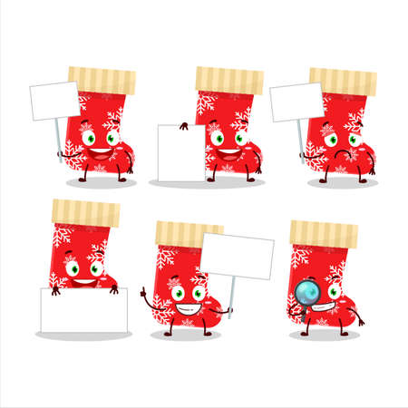 Red christmas socks cartoon character bring information board