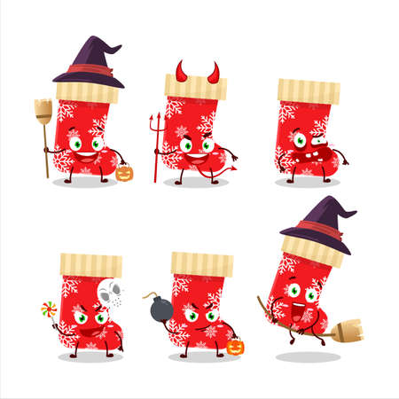 Halloween expression emoticons with cartoon character of red christmas socks Ilustração