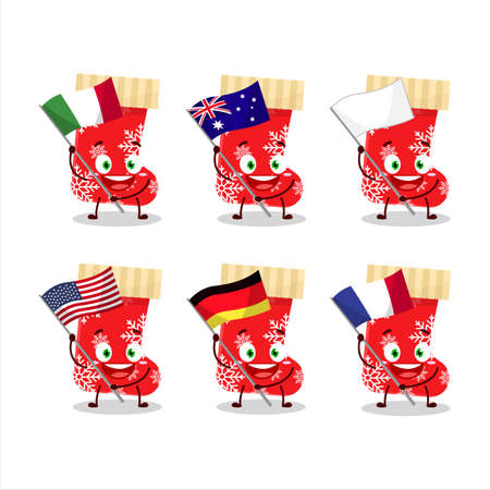 Red christmas socks cartoon character bring the flags of various countries