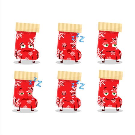 Cartoon character of red christmas socks with sleepy expression Illustration