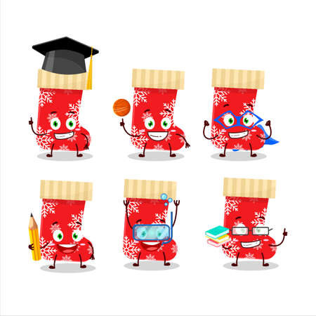 School student of red christmas socks cartoon character with various expressions