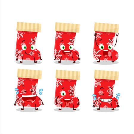 Cartoon character of red christmas socks with smile expression