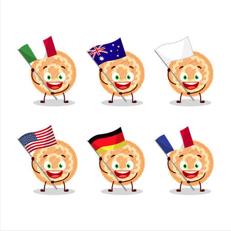 Potatoes pie cartoon character bring the flags of various countries Vettoriali