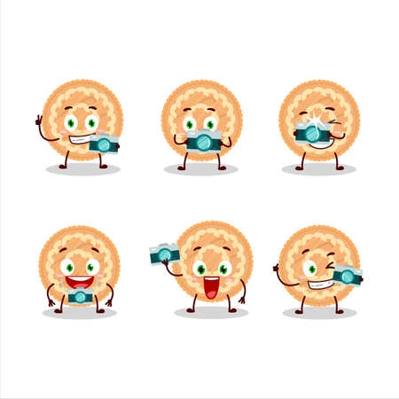 Photographer profession emoticon with potatoes pie cartoon character 向量圖像