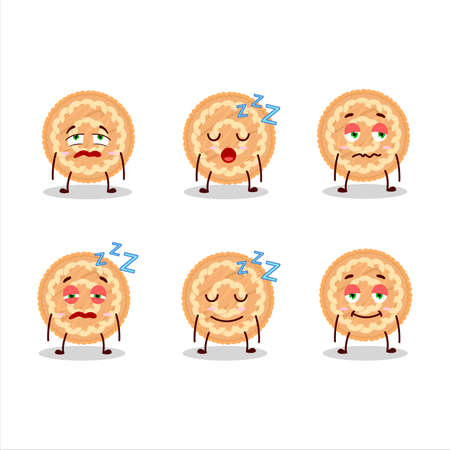 Cartoon character of potatoes pie with sleepy expression